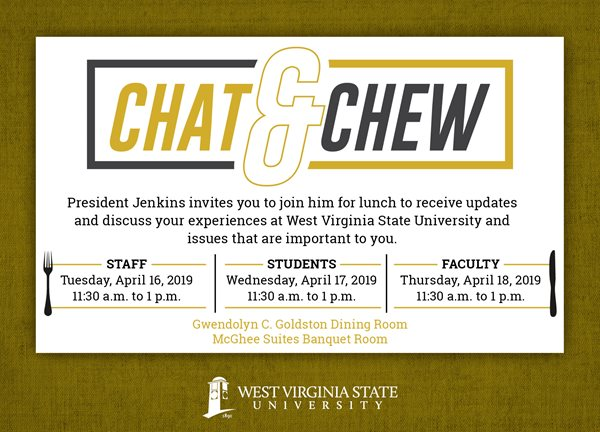 Chat and Chew Sessions Set for April, 16, 17, 18