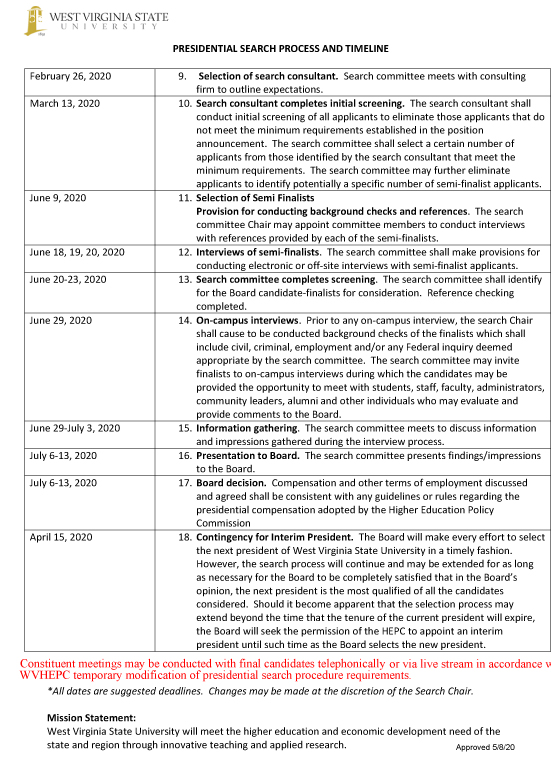 Presidential Search Process and Timeline